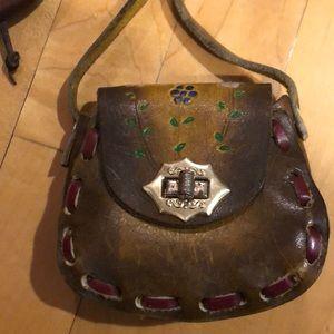 Vintage Bags - Set of two - boho hippie leather mini purses